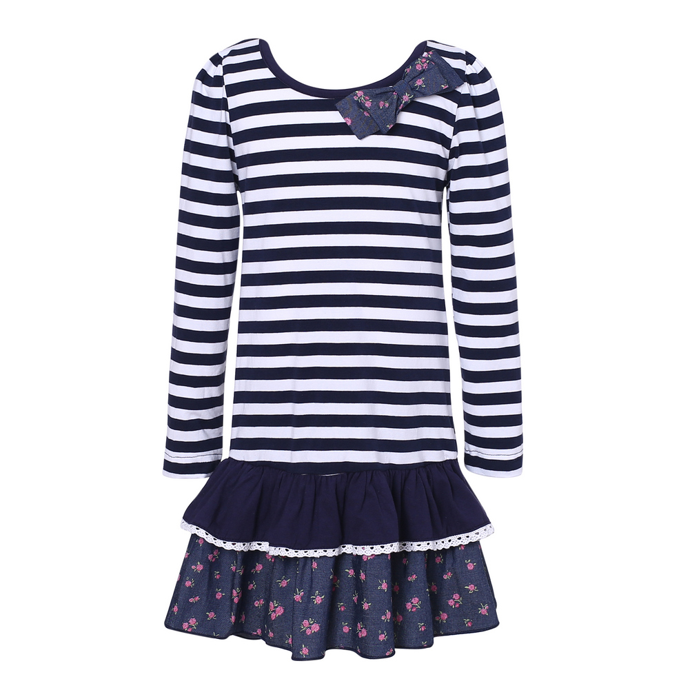 Richie House Little Girls White Navy Striped Floral Print Dress 1-5
