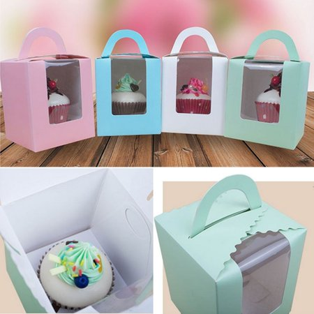 Girl12Queen 5Pcs Cupcake Muffin Fairy Cake Box Clear WindowContainer with Handle Party Gift