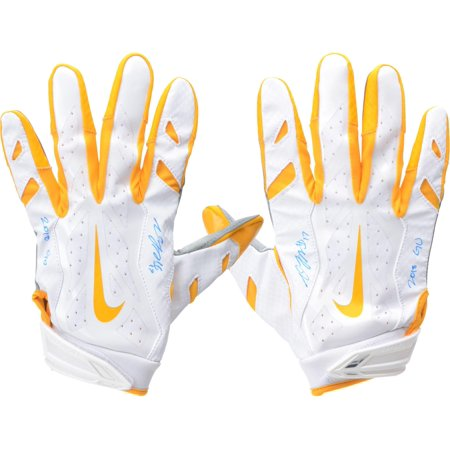 Davante Adams Green Bay Packers Autographed Game-Used White, Yellow, and Gray Gloves from the 2018 NFL Season with
