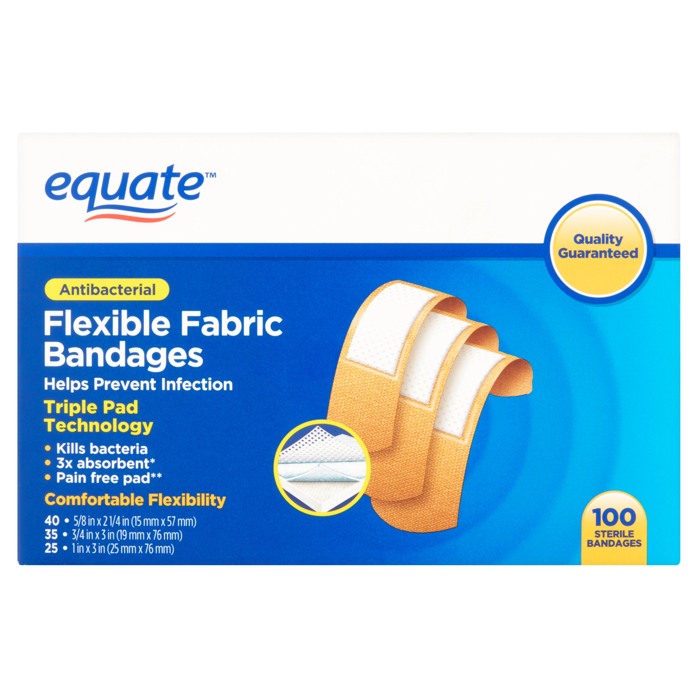 Equate Antibacterial Flexible Fabric Bandages, 100 Ct