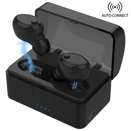 [Updated Version] IPX7 Waterproof Bluetooth 5.0 Headphones, Auto Connect Wireless Earbuds w/ 1000mAH Charging Case & Built-in Mic Hands Free HD Stereo in Ear Earpiece Sport Driving Headset Earphones