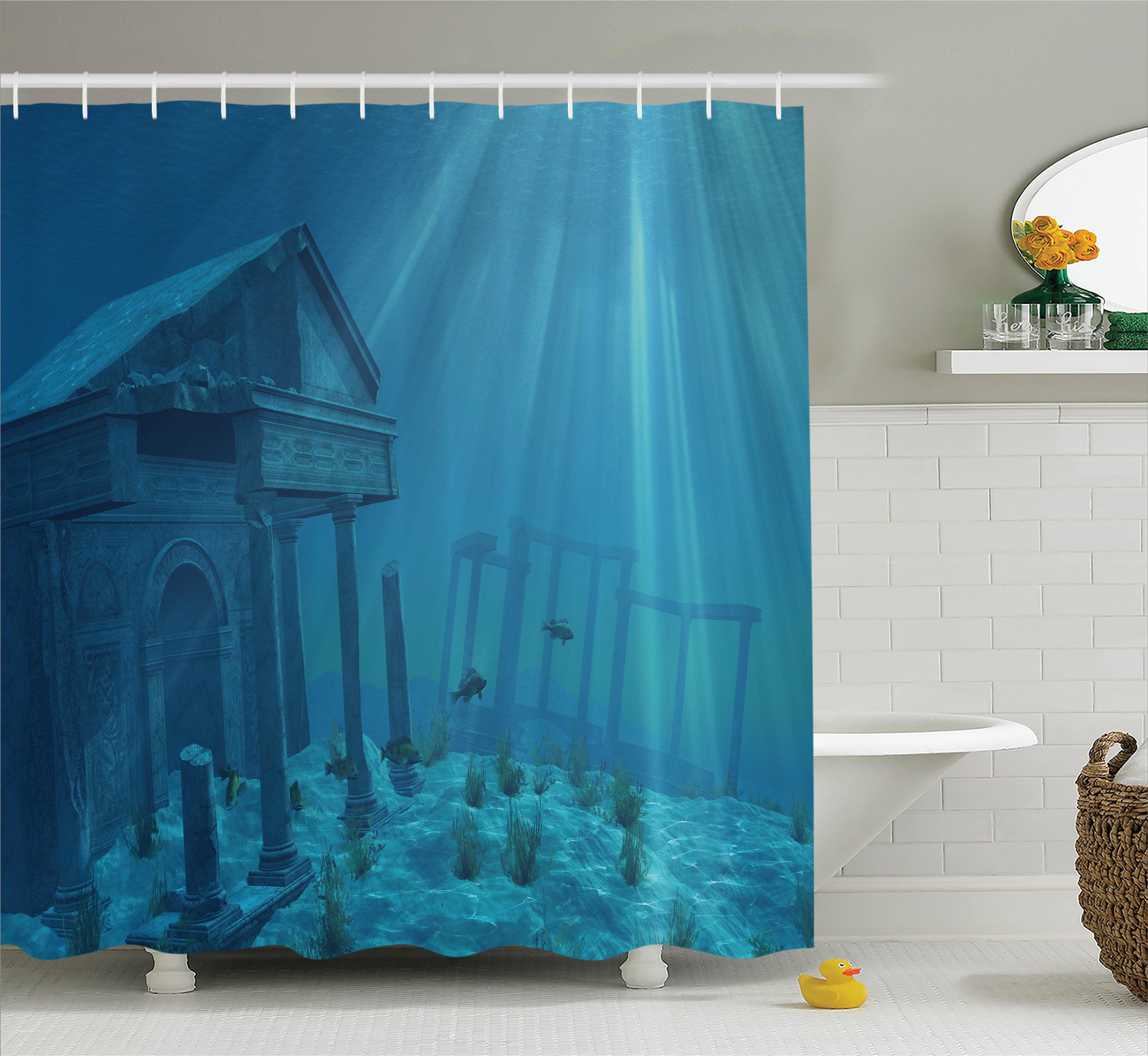 Ocean Life Shower Curtain Set Sunlight Over Ruins Of A Former Civilization Deep Undersea Atlantis World Nautical Picture Print Bathroom Decor Teal