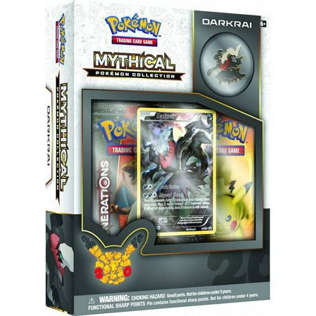 POKEMON MYTHICAL PIN BOX DARKRAI BOX The Mythical Pokemon Darkrai is here to give your next opponent nightmares with the Pokemon TCG: Mythical Pokemon CollectionDarkrai! Inside each collection, you'll find not only a Darkrai collector's pin and full-art foil card, but also two booster packs from the special Pokemon TCG:Generationsexpansion! Step forward into a new level of play with the Pokemon TCG: Mythical Pokemon CollectionDarkrai!The Pokemon TCG: Mythical Pokemon CollectionDarkrai includes:* 1 Darkrai Foil Promo Card* 1 Darkrai Collector's Pin* 2 Pokemon TCG:GenerationsBooster Packs* 1 Code Card for the PTCGO*Description provided by Manufacturer*