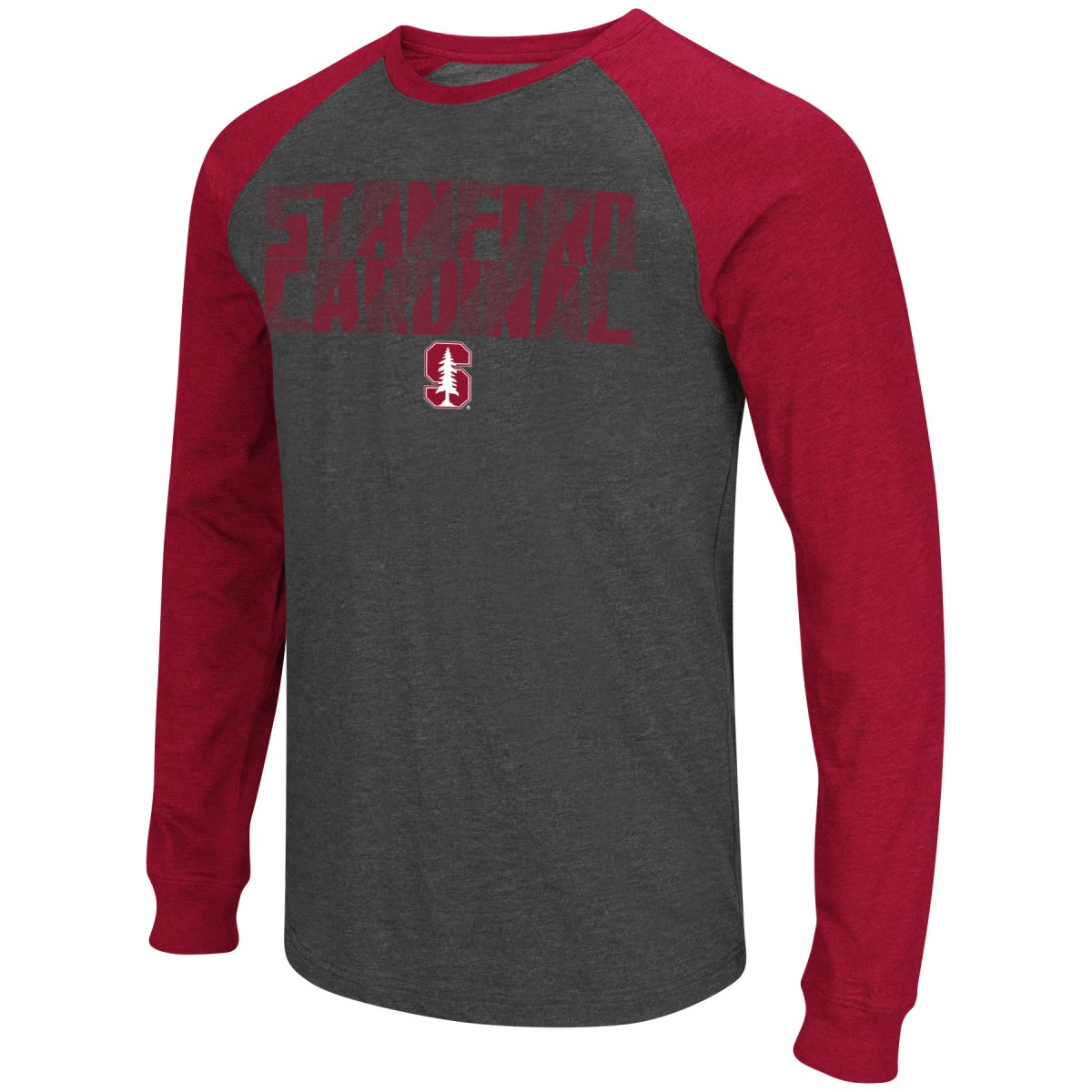 "Stanford Cardinal NCAA ""Olympus"" Long Sleeve Raglan Shirt - Charcoal"