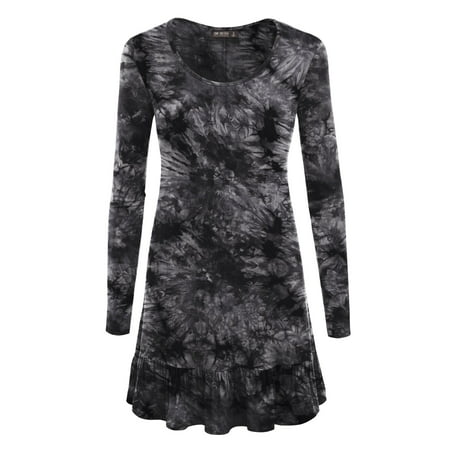 d4b77b2d51ff Made by Johnny - MBJ WT1154 Womens Tie-Dye Long Sleeve Bottom Ruffled Tunic Short  Dress XXL BLACK - Walmart.com