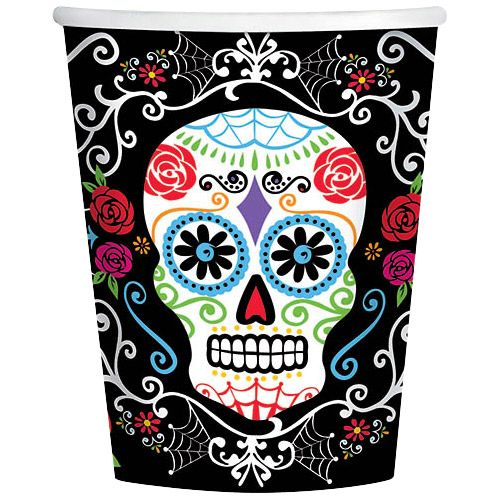 Day of the Dead 9oz Cups (18 Pack) - Halloween Party Supplies
