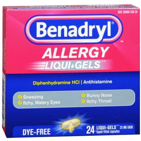 Benadryl Allergy Liqui-Gels Dye-Free 24 Liqui-Gels (Pack of 2)