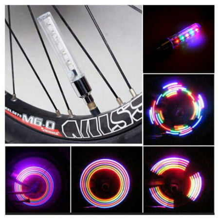 IClover 2PCS Colorful LED Flash Tyre Wheel Valve Cap Light for Car Bike Bicycle Motorbicycle Wheel Light Tire Light
