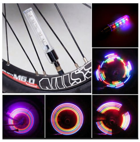 IClover 2PCS Colorful LED Flash Tyre Wheel Valve Cap Light for Car Bike Bicycle Motorbicycle Wheel Light Tire Light