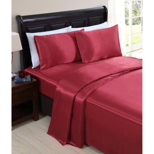 VCNY Celesta Satin Sheet Set King  - Red