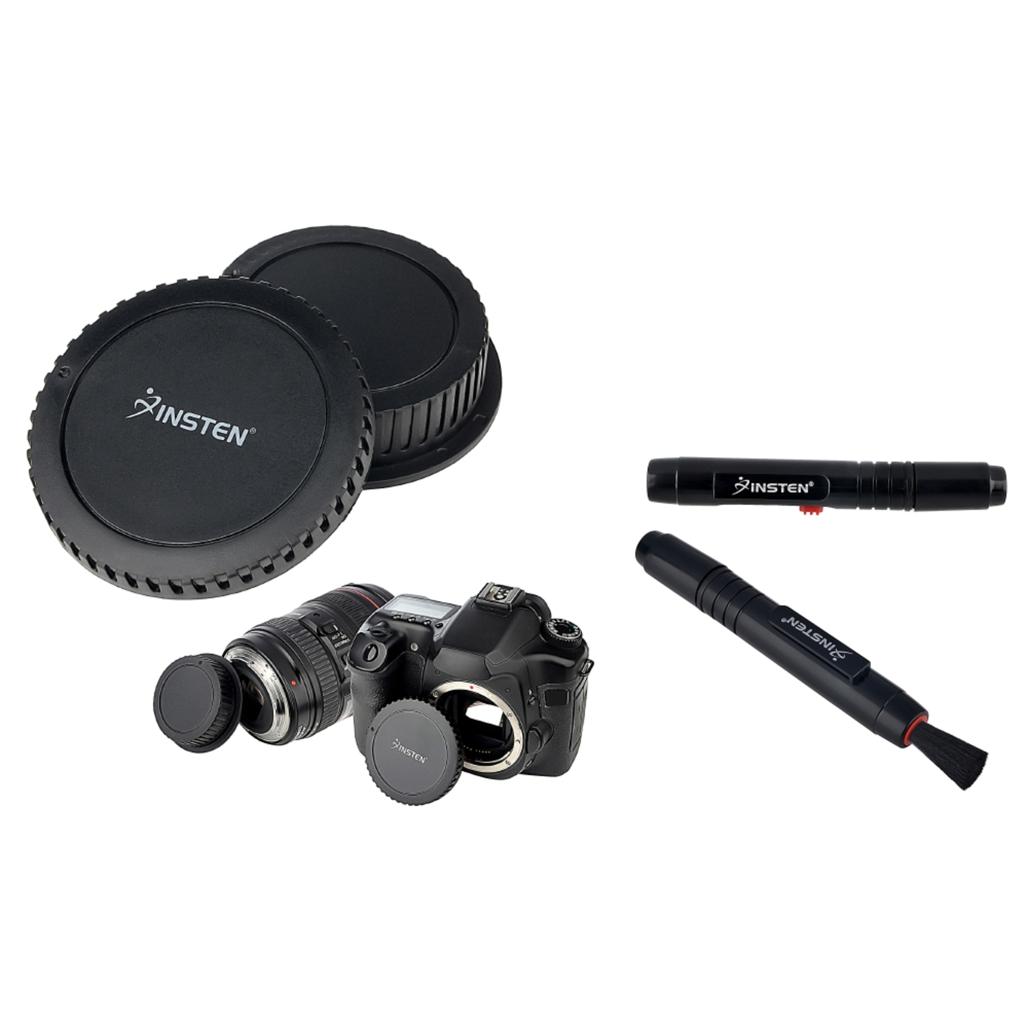 Insten For Canon Digital Rebel T1/T1i/T2i/T3/T3i Camera Body+Rear Lens Cover Cap+Pen