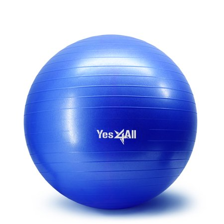 Yes4All Yoga Exercise Ball / Balance Ball / Stability Ball – Great for Yoga, Fitness, Core Strength Training – Anti Burst & Extra Thick (55 cm, (Best Stability Ball For Yogas)
