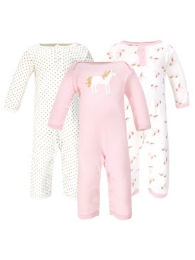 Hudson Baby Girl One-Piece Rompers, 3-pack