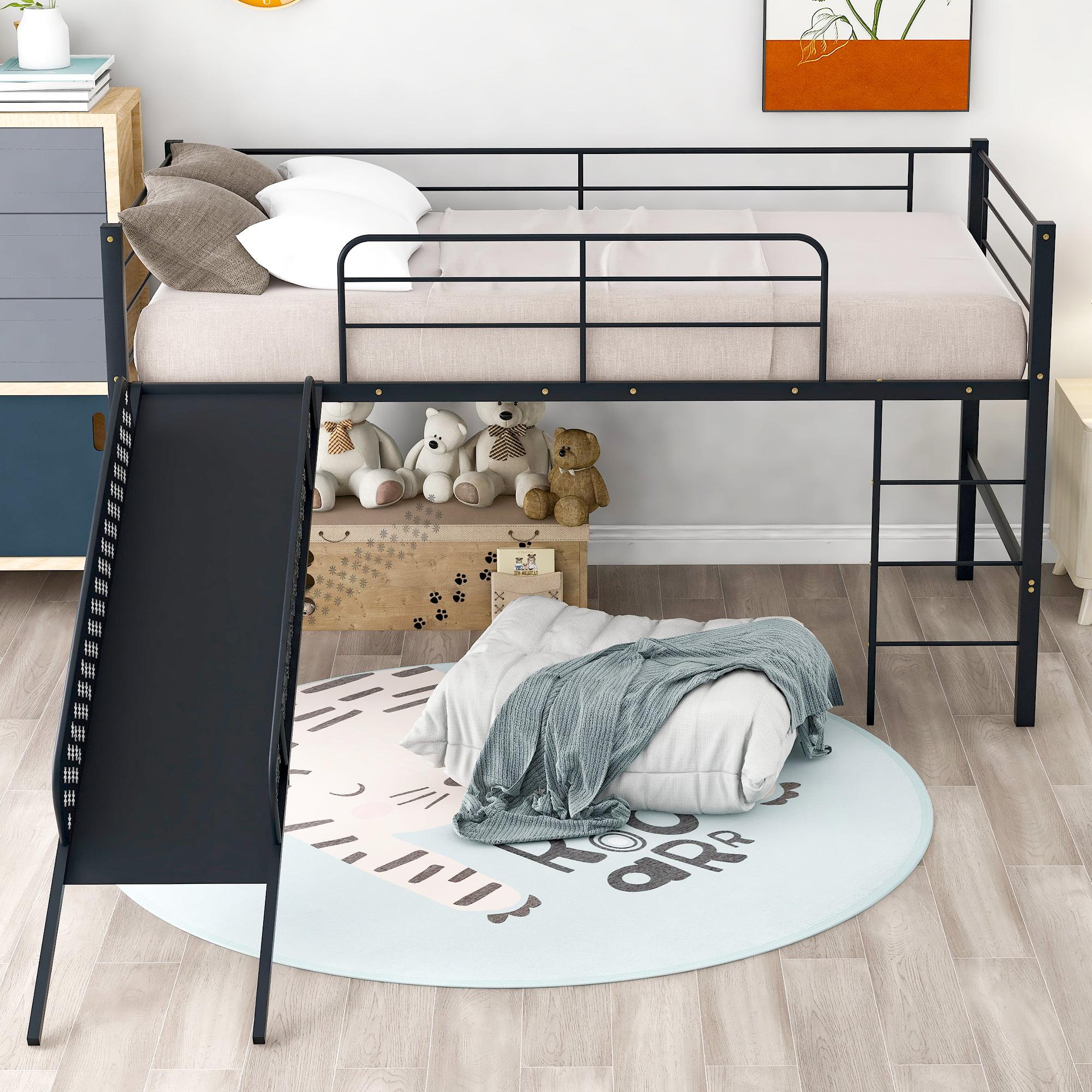 Loft Beds For Kids Yofe Metal Twin Loft Bed Frame Twin Loft Bed With Slide Ladder Twin Loft Bed With Metal Slats Kids Loft Beds For Boys Girls Low Loft Bed Frame