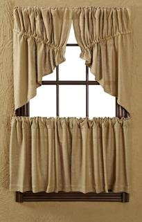 "Burlap Natural Prairie Swag Window Treatments, Set of 2 36x36x18"" each, Pictured at... by"