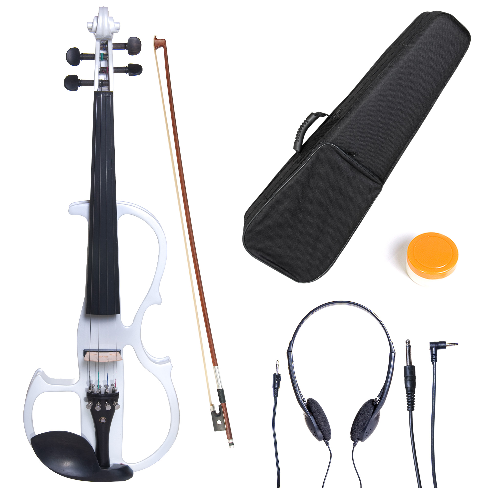 Cecilio 4/4 CEVN-2W Solidwood Pearl White Electric/Silent Violin with Ebony Fittings-Full Size