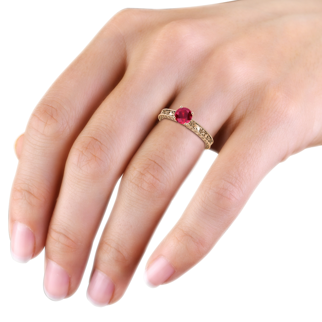 Ruby Floral Engraved Solitaire Engagement Ring with Milgrain Work ...