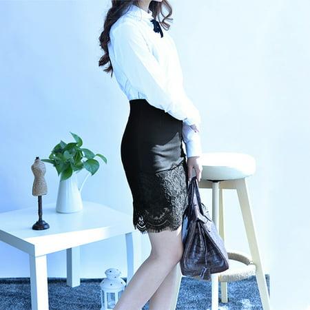 Women Crochet Lace Skirt Elastic Waist Hollow Out Work Career Mini OL Skirt Black - image 4 of 7