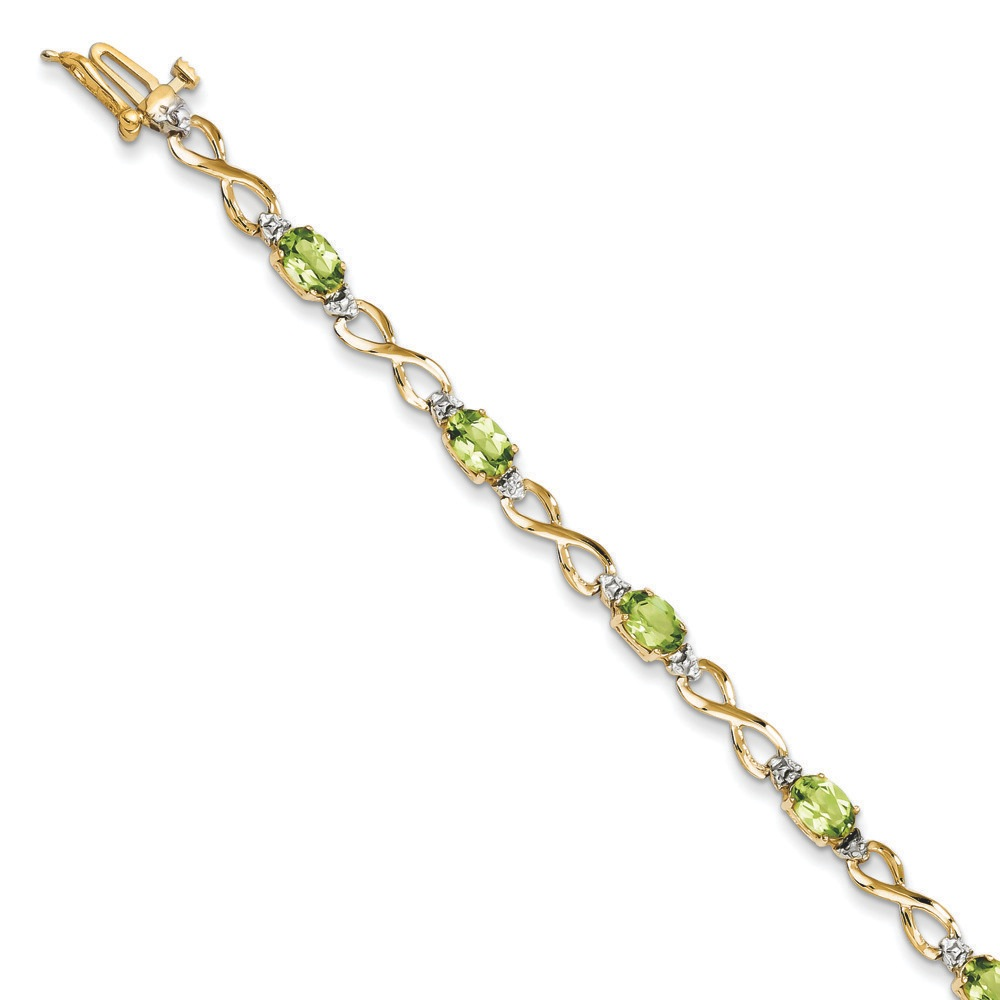 14k Gold Peridot and Diamond Bracelet .03 dwt 6.00 cwt 7 Inch Box Clasp by Kevin Jewelers