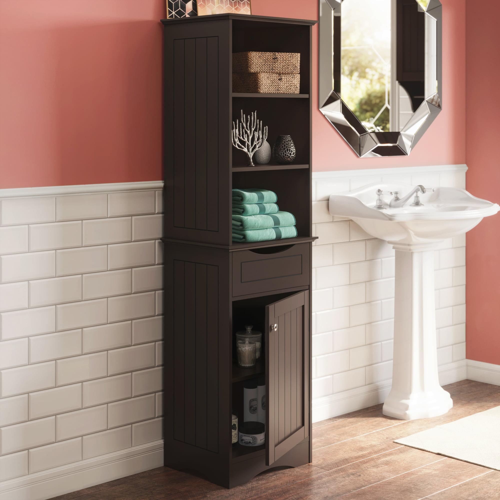 Ashland Collection Tall Linen Cabinet Bathroom Storage Espresso Walmart Com Walmart Com