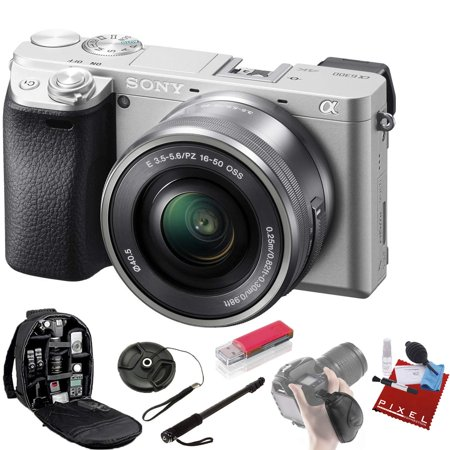 Sony Alpha a6300 Mirrorless Digital Camera with 16-50mm Lens (Silver) + Pro Accessories