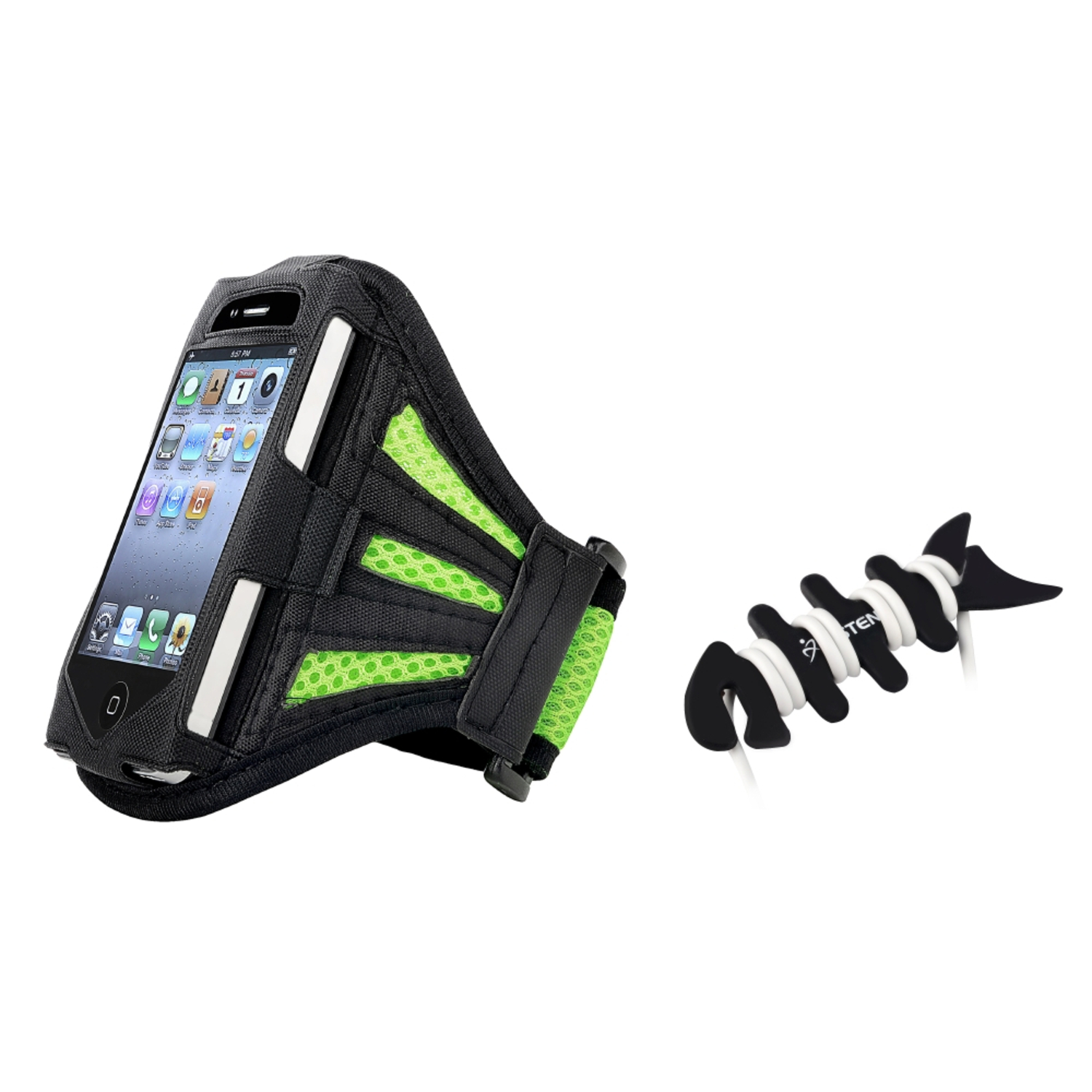 Insten Green ArmBand Sportband Case For Apple iPhone 3 3GS 4 4th G 4S USA+Fishbone Wrap