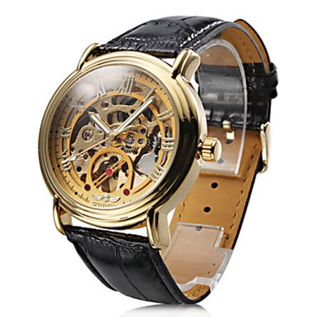 Classic Mens Black Leather Gold Dial Skeleton Mechanical Sport Automatic Wrist Watch Elegant New Dress Man Watch