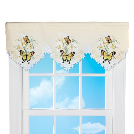 Lilies and Butterfly Cutout Window Valance - Seasonal Window Accent for Any Room in Home, - Yellow Accents