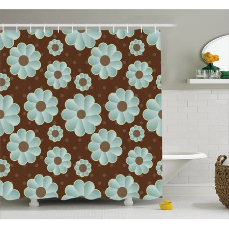 Brown and Blue Shower Curtain, Retro Daisy Pattern with Polka Dot Background Abstract Design, Fabric Bathroom Set with Hooks, Brown Pale Seafoam Umber, by Ambesonne (Brown Polka Dot Shower Curtain)