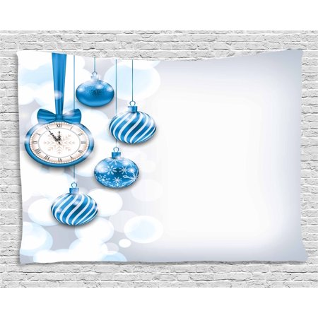 Clock Decor Tapestry, New Year Theme A Clock and Glass Balls Illustration Christmas Decoration Pattern, Wall Hanging for Bedroom Living Room Dorm Decor, 60W X 40L Inches, Blue, by Ambesonne (Hanging Glass Balls)
