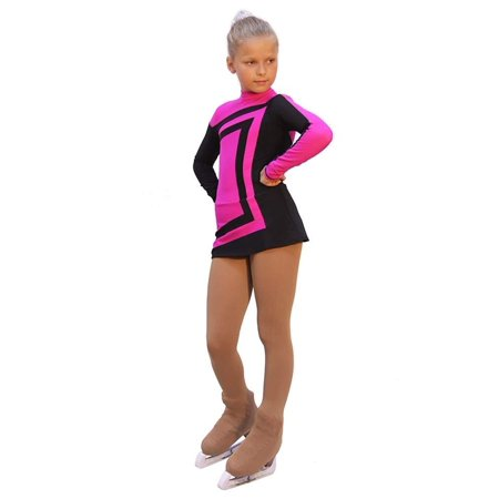 IceDress - Figure Skating Dress - Avangard (Fuchsia with Black) (Best Figure Skating Dresses)