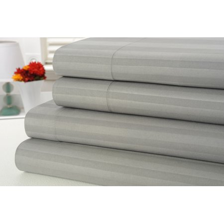 Bamboo Bedding (1800 Count Bamboo Egyptian Comfort Extra Soft Striped Bed Sheets 4 Piece Set - 6 Colors - Queen / Gray )