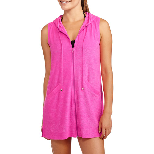 Women's Hooded Zip-Front Terry Swim Cover-Up