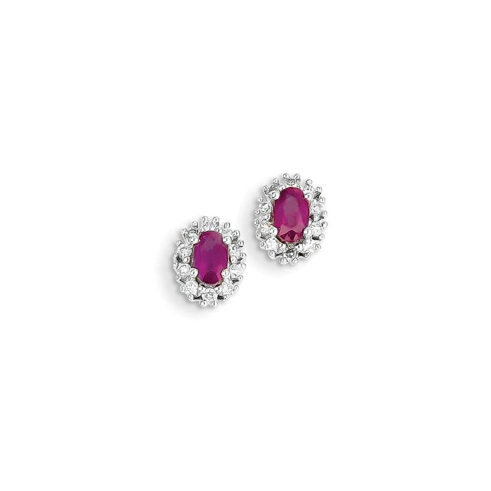 14k White Gold Diamond & Ruby Post Earrings. Carat Wt- 0.2ct. Gem Wt- 0.7ct (8MM Long x 6MM Wide)