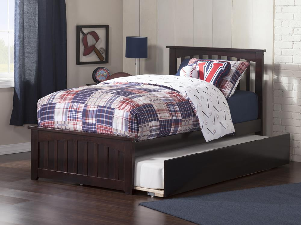 Atlantic Mission Twin Bed w Matching Footboard & Urban Trundle in Espresso by