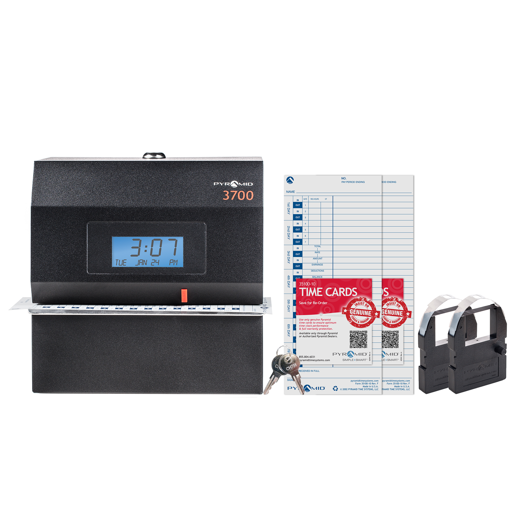 Pyramid 3700 Heavy-Duty Time Clock and Document Stamp Bundle, includes 225 time cards, 2 ribbon cartridges