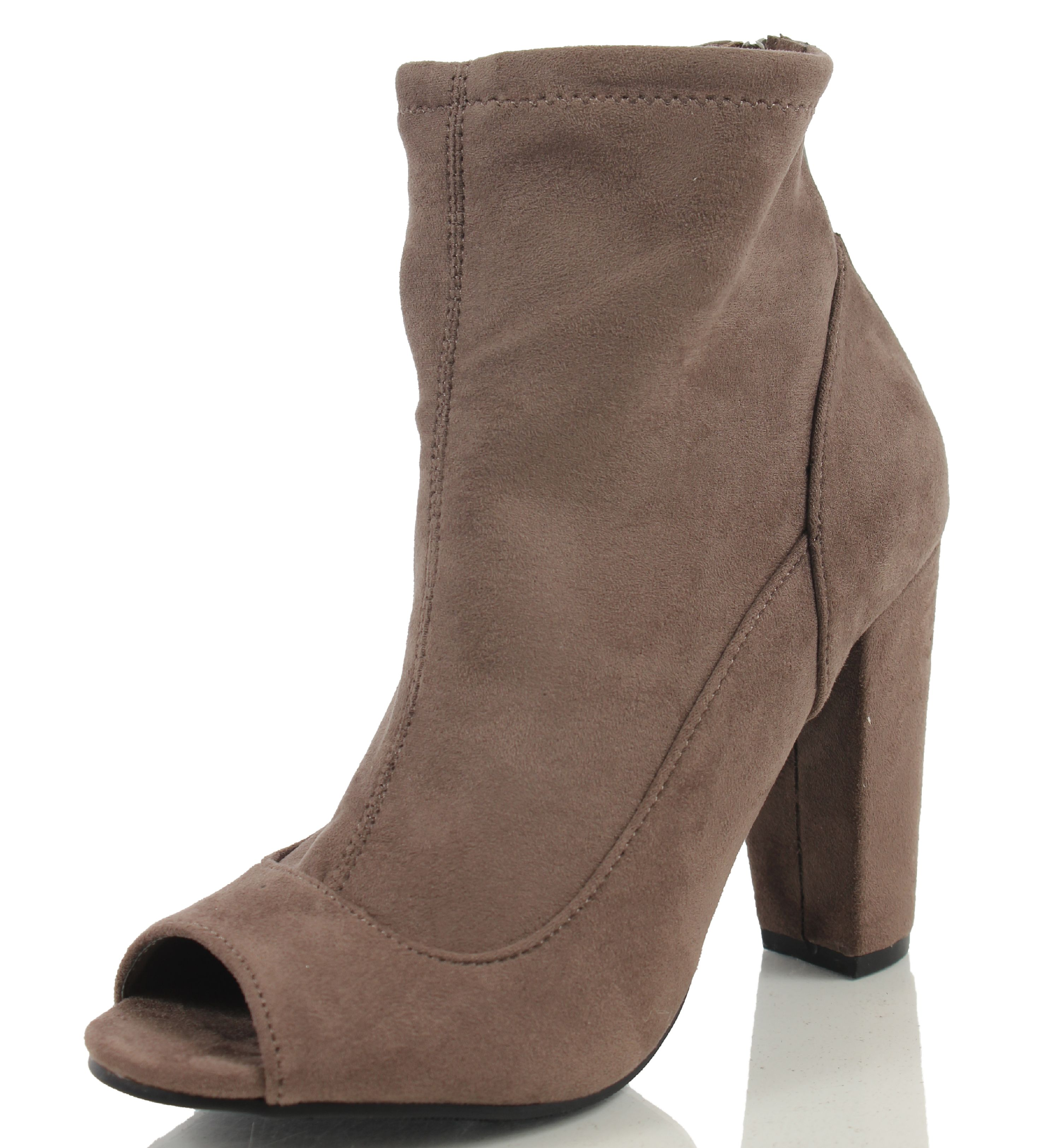 Ankle boots in imitation suede with a zip in the side and