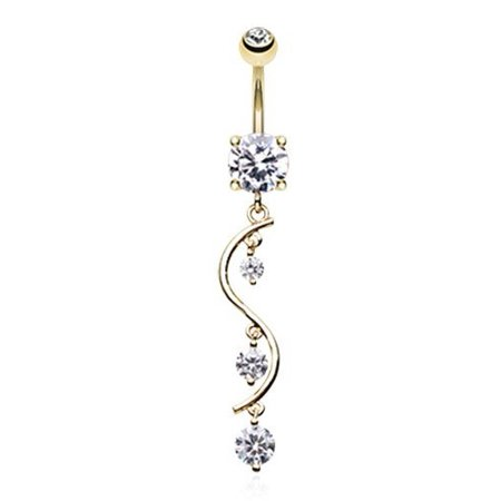 Golden Vine Swirl Sparkle Gold Plated Belly Button Ring