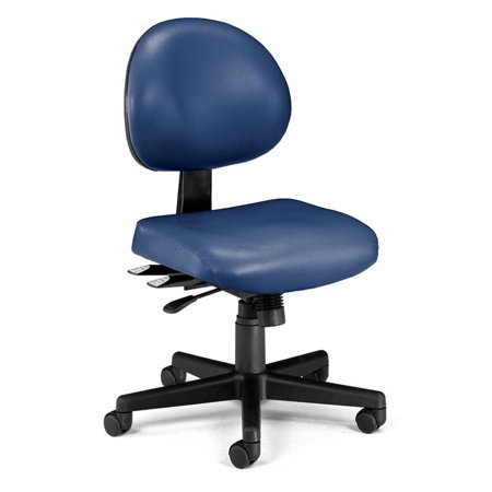 Bowery Hill Faux Leather Swivel Office Chair In Navy