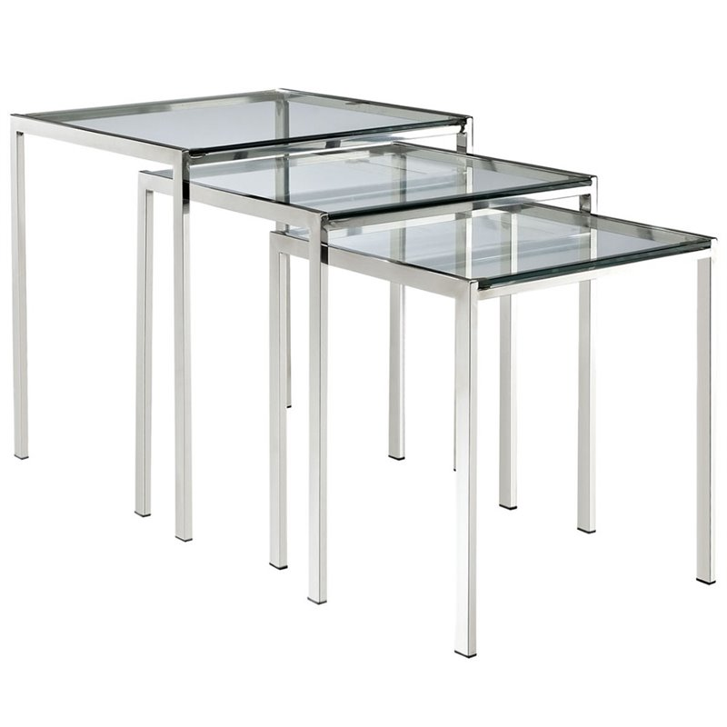 Hawthorne Collection 3 Piece Glass Top Nesting Table Set