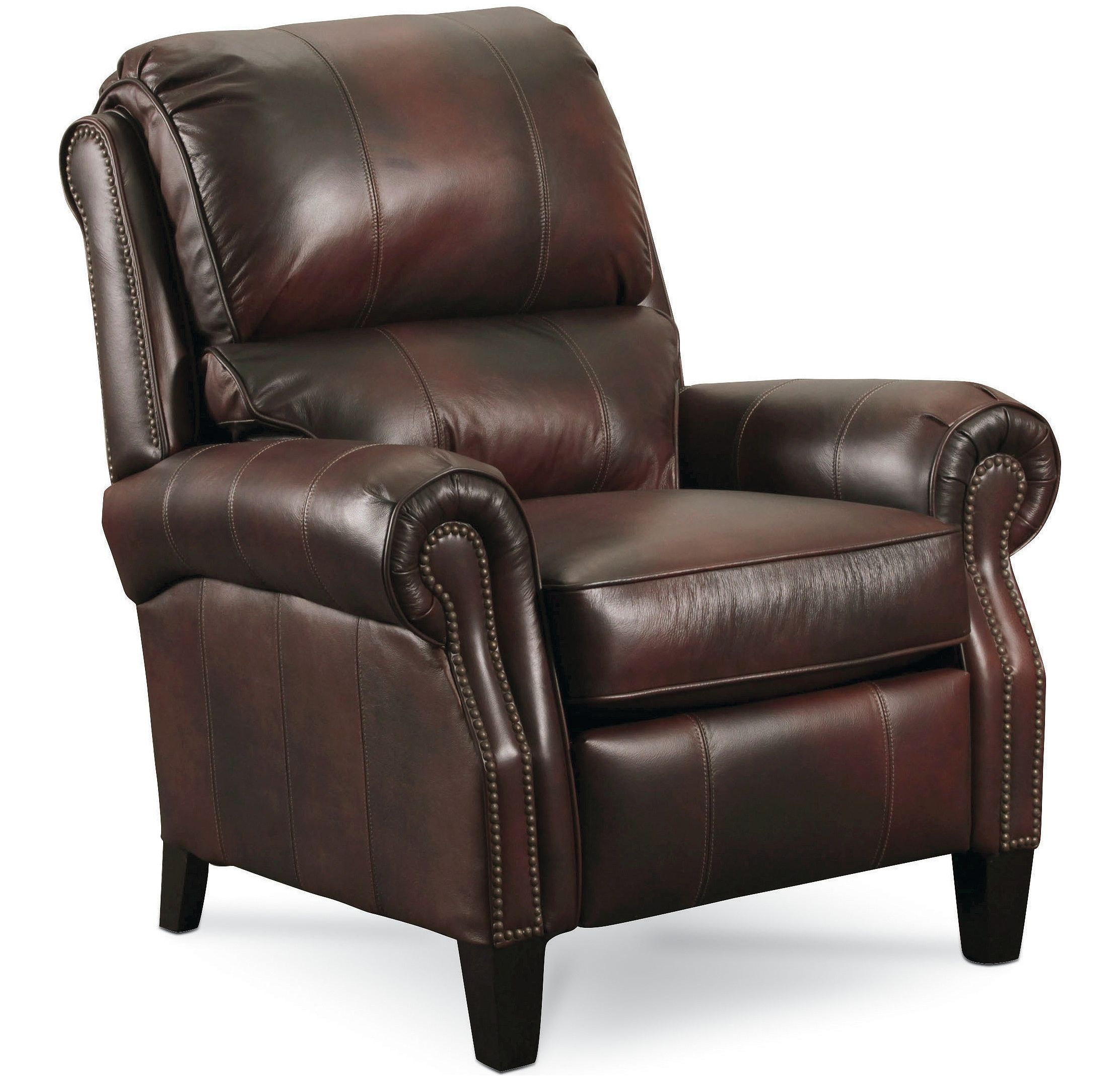 Lane Hogan High Leg Leather Recliner - Dark Brown (curbside delivery)