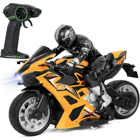 Click N' Play Cross Country High Speed RC Remote Control Stunt Motorcycle with Riding Figure (Yellow)