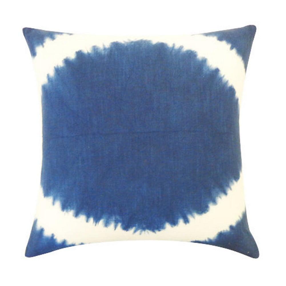 Vivai Home Indigo Pupil Tie Dye Pattern 18x 18 Square Cotton Feather Pillow