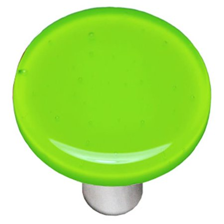 Hot Knobs HK1017-KRA Opal Spring Green Round Glass Cabinet Knob - Aluminum (Hot Knobs Handcrafted Spring)