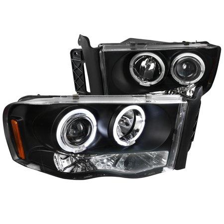 Spec-D Tuning 2002-2005 Dodge Ram 1500 Dual Halo Led Projector Head Lights 2002 2003 2004 2005 (Left + (2005 Dodge Ram Pickup 1500 Srt 10)