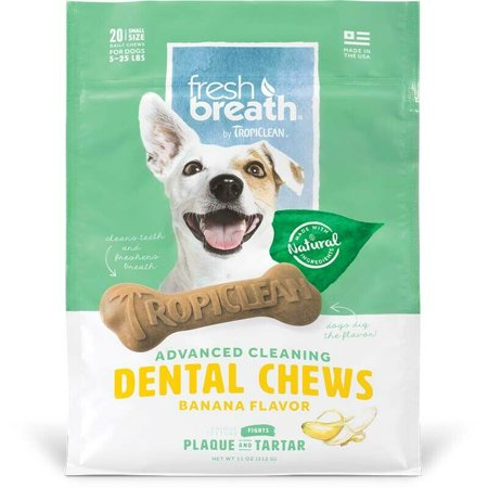 Natural Dog Chew Treats Healthy Fresh Breath Dental Bones Choose Size & Formula (Banana - Small 20ct)