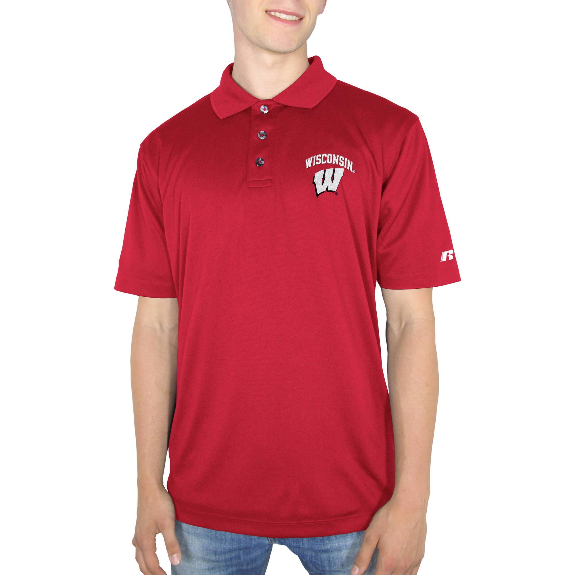 Russell NCAA Wisconsin Badgers Men's Synthetic Polo