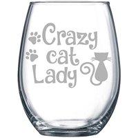 Crazy cat Lady stemless wine glass