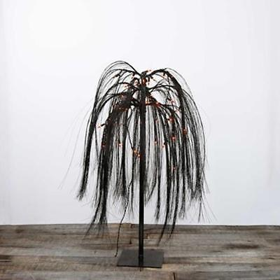 Lighted Tabletop Halloween Tree, Weeping Willow, Plug In,...