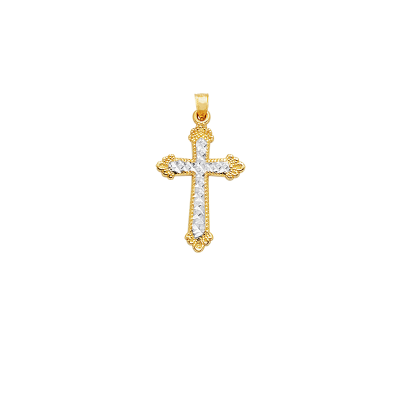 30 X 50mm Million Charms 14K Two-Tone Gold Religious Laminated Crucifix with 18 Rolo Chain